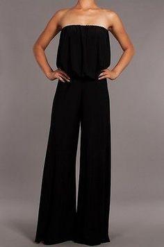 Women Sexy Elegant Strapless Wide Leg Long Palazzo Pants Suit Dress Jumpsuit   eBay