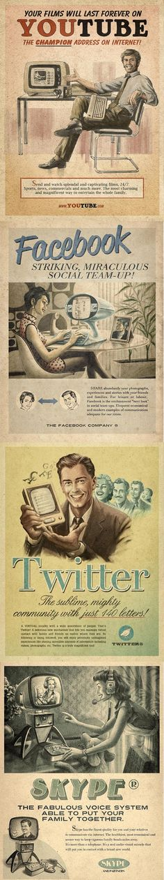 Vintage ads for modern social media. Fun to imagine what Madison avenue would do with this stuff back then. #advertising #madmen