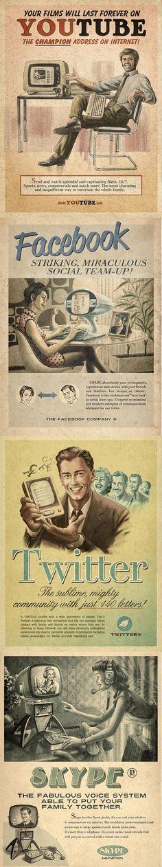 Anuncios sobre las #redes sociales al estilo #vintage