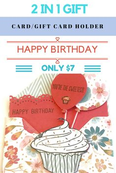 Happy Birthday Card and Gift Card Holder https://www.claudettescards.com