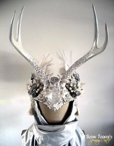 Image of ICE MAIDEN - Winter White Antler Headdress Crown by Susan Tooker of spinningcastle.bigcartel.com