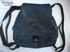 Denim backpack tutorial -- Kitty applique on flap