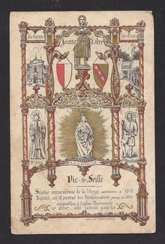 RARE Antique French Holy Card of Our Lady of Bethlehem, Notre Dame de Bethleem with St. Joan of Arc, St. Christopher, St. Yves. via Etsy