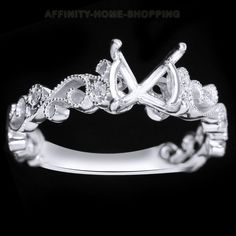 Vintage Semi Mount Real Diamond Wedding Ring Round 7-8MM Solid 10K White Gold #AffinityHomeShopping #SolitairewithAccents