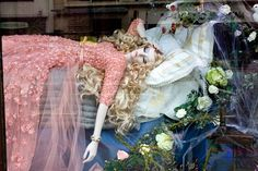 Harrods' Christmas window. Harrods has pulled out all the stops to create the most magical of windows this festive season - recruiting the help of Oscar De La Renta, Valentino and Marchesa to dress Disney's fairy-tale princesses - from Cinderella to Sleeping Beauty.
