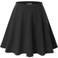 Doublju Women Plus-size Versatile Strechy Flared Skater Skirt ($9.98) ❤ liked on Polyvore featuring skirts, flared skirt, circle skirt, plus size knee length skirts, flared hem skirt and plus size skirts