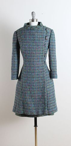 ➳ vintage 1960s dress & coat  * blue wool boucle * acetate lining * dress with pockets * back button belt * back zipper dress * button front coat * by Juanita  condition   excellent fits like medium  dress length 40 bodice length 17 bust 37 waist 30 hips 42 coat length 39 bust 40 waist 36 shoulders 17 sleeves 20   some clothes may be clipped on dress form to show best fit for appropriate size.  ➳ shop http://www.etsy.com/shop/millstreetvintage?ref=si_shop  ➳ shop policies…