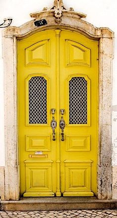 Yellow door in Olhão, Algarve, Portugal. Algarve, Cool Doors, Unique Doors, Entrance Doors, Doorway, Grand Entrance, Door Knockers, Door Knobs, Doors Galore