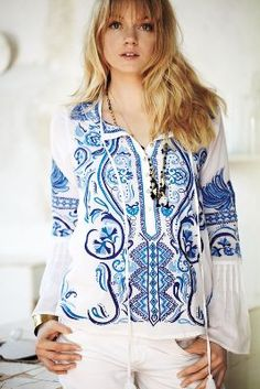 Embroidered peasant blouse <3 | Anthropologie