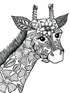 Giraffe Coloring Pages, Cat Coloring Page, Free Adult Coloring Pages, Cool Coloring Pages, Mandala Coloring Pages, Coloring Pages To Print, Free Printable Coloring Pages, Coloring Books, Coloring Sheets
