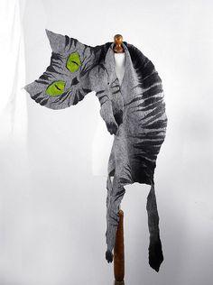 Felted Scarf Cat Scarf Grey Cat Tiger Scarf Art Shawl by filcant