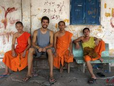 Chat with local monks at a temple, Laos