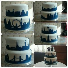 Wedding cake with London and Berlin Skyline's for Daft Punk fans. Top tier ginger flavoured with lemon buttercream. Bottom tier all lemon!