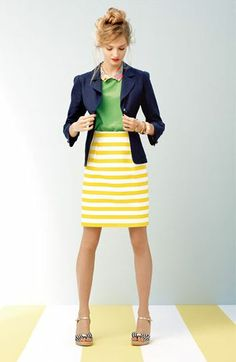 Kate Spade Tessa top with yellow & white striped skirt and navy blazer - cute.