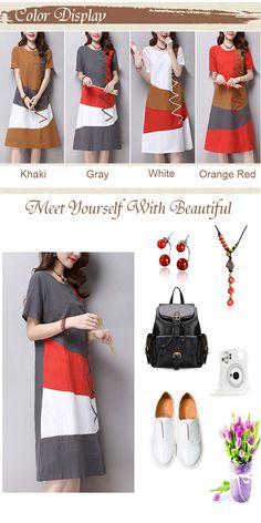 Elegant Women Short Sleeve Contrast Color Cotton Linen Dress
