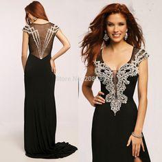 Celebrity Black Evening Dress Crystal Beaded Mermaid Chiffon 2015 Handmade Vestidos de Festa Long Prom Gown E6434
