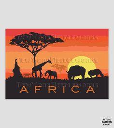 Africa Pattern African Cross Stitch Animals by NewYorkNeedleworks