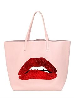 RED Valentino Glitter Mouth Appliqué Leather Tote Bag on shopstyle.com
