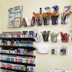 Deflecto - The Possibilities Are Endless!: Paint Storage Solutions with Deflecto Wall Mounting Bars Art Studio Room, Art Studio Storage, Art Supplies Storage, Art Studio At Home, Art Storage, Painting Studio, Craft Room Storage, Paint Organization, Art Studio Organization