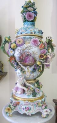 A 19th century German Meissen porcelain vase and lid..MAGNIFICENT