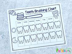 super cute Tooth Brushing Reward Chart for toddler, preschool, pre k, kindergarten, and first graders. Kindergarten Social Studies, Classroom Crafts, Kindergarten Activities, Toddler Reward Chart, Free Preschool, Toddler Preschool, Tooth Chart, Dental Health Month, Creative Curriculum