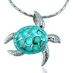 Guy Harvey Enameled Turquoise Sea Turtle Necklace Crafted In Sterling Silver