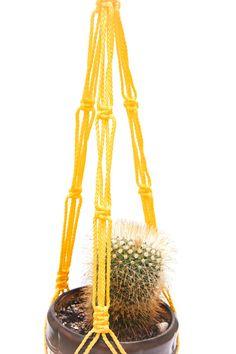 Garden Pot Holder  Yellow Macrame Plant Hanger  by DanceOfTheSoul