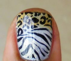 cheetah / leopard and zebra glitter yellow / brown and black and white animal print nail polish cute cute cute cute cute. Very jersey girl
