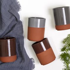 Terracotta cups for hot beverages. Design by Bloomingville                                                                                                                                                                                 More