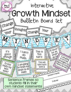 """""""Change Your Thoughts, Change Your Mindset""""This bulletin board set comes with a heading and 10 fixed v. growth mindset statements (5 of each).  """"I stink at this""""  v.  """"What am I missing?""""""""This is too hard"""" v. """"This will take hard work and perseverance""""""""It's good enough""""  v. """"Is this really my best work?""""""""I'll never be as smart as her""""  v. """"I am going to try new strategies to figure out what works for me""""""""I can't do math"""" v. """"I am going to train my brain to do math""""In this bulletin board set…"""