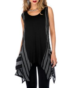 Take a look at this Black & Gray Stripe Handkerchief Hem Tunic by Aster on #zulily today!