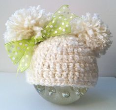 Baby Hat Beige Crochet with Pom Poms by inamood on Etsy, $16.00