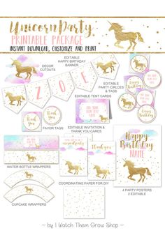 Unicorn Party Printables Package Pastel Pink and Gold Unicorn