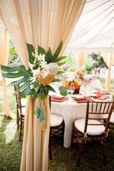 oh-so-very tropical tented reception in Hawaii  Photography by http://thechansons.com, Floral and Event Design by http://greenhonolulu.com