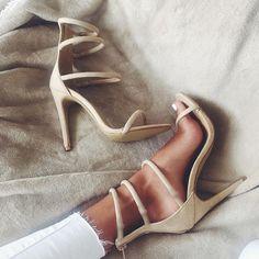 beige strappy heels.
