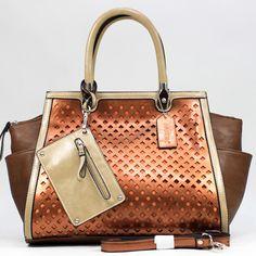 Dasein Two-tone Metallic Contrast Fashion Shoulder Bag w/ Bonus Strap & Coin Pouch - Coffee