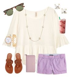 """my favorite color: Purple rtd"" by ctrygrl1999 ❤ liked on Polyvore featuring H&M, J.Crew, Tory Burch, Kate Spade, Kendra Scott and Ray-Ban"