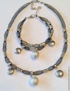 """Купить Комплект """"Сеточка"""" - украшения ручной работы, ювелирная сетка, металлические бусины, металлические подвески"""