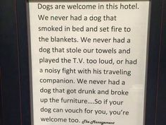 This Hotel's Pet Policy…