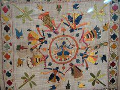 Chamba Rumal at Kangra Art Museum, Dharamsala, Himachal Pradesh, India Henna Patterns, Wall Patterns, Print Patterns, Indian Embroidery, Hand Embroidery, India Pattern, Nepal Art, India Crafts, Embroidered Pillows