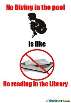 No Diving in the pool is like no reading in the Library | WorldWTF.com