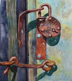 You Complete Me  This is my original watercolour of the close up of an old barn door and stone wall. The wood is weathered and full of interesting grain and knots. There is a long hooked bolt across the centre of the painting creates a contrast of textures and an interesting, dynamic composition. The padlock is open and full of colour and texture. I was inspired to paint this as it made me think of a couple, in love, spending their entire lives together, getting old and weathered together…