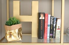Love that fabric bag that looks like a gilded paperbag. And I love that its holding a succulent. Gold Bookshelf, Old Bookshelves, Bookcase, 1940s Bungalow, Diy Spray Paint, The Knack, Gold Diy, Wood Pieces, At Home Store