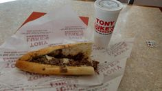 A (mild provolone) cheesesteak without onions and a cup of birch beer sans ice. This is my go-to order at Tony Luke's Steaks, a South Philadelphia cheesesteak shop whose popularity allowed its modern-day proprietor, Tony Luke Jr., to open shops throughout the greater Philadelphia area, particularly in shopping malls. This particular order is from the Tony Luke's stand in the Deptford Mall in Deptford Township, New Jersey.