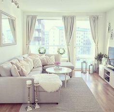 A small living room can present a few design challenges, but with the right design ideas, small spaces can be transformed to create magnificent living room. A great way to make a small living room feel larger is to keep… Continue Reading → Cozy Living Rooms, My Living Room, Apartment Living, Home And Living, Small Living, Apartment Ideas, Cozy Apartment, Apartment Furniture, Cream Living Room Decor