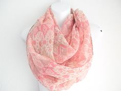 Bohemian Tribal scarf Coral Infinity scarf by myfashioncreations, $14.99