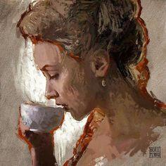 the cup of #tea. #Portrait #painting by #MichelePetrelli  #creativeuprising #instaart #realism #sketch#instasketch #人物画 #instasketch #art#kunst #peinture #スケッチ #人物画#pittura #живопись #pintura#dibujo #originals #originalart #interiordesign #instadaily#allaprima