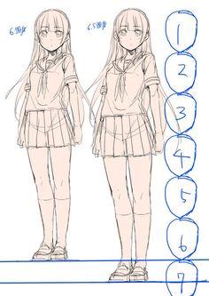 인체 비율 Reference Manga, Body Reference Drawing, Anime Poses Reference, Manga Drawing Tutorials, Manga Tutorial, Drawing Tips, Anime Drawings Sketches, Anime Sketch, Pencil Drawings