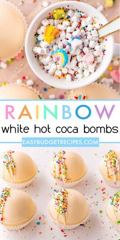 These delicious Rainbow White Hot Chocolate Bombs are made with white chocolate and white hot chocolate mix and Lucky Charms marshmallows. They're great for St. Patty's Day, Easter, Spring, and other events! Chocolate Shells, Hot Chocolate Mix, Melting Chocolate, White Chocolate, Lucky Charms Marshmallows, Mini Marshmallows, Bombe Recipe, Easy Holiday Recipes, Dinner On A Budget
