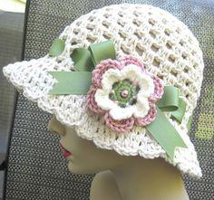 Cotton Womens Hat, Cream Cloche, Sage Ribbon, Crochet Flower, Off White, Rose Pink, Sun Hat, Beach, Weddings, Bridal Showers JE156GFCALL
